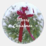 Merry Christmas Holiday Season Card Envelope Seals Round Sticker