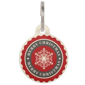Merry Christmas Holiday Snowflake Pet Name Tag