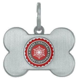 Merry Christmas Holiday Snowflake Pet Tag