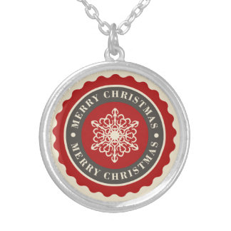 Merry Christmas Holiday Snowflake Silver Plated Necklace