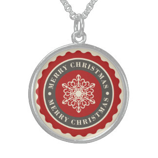 Merry Christmas Holiday Snowflake Sterling Silver Necklace
