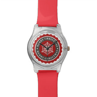 Merry Christmas Holiday Snowflake Wristwatch