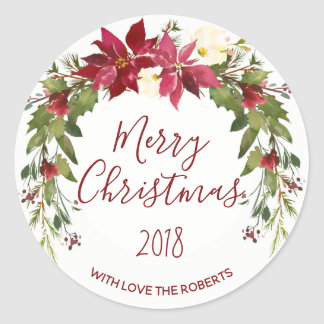 merry christmas holiday sticker label holly