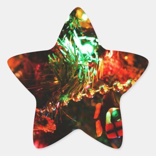 Merry Christmas  Holiday Tree Ornaments celebratio Star Sticker