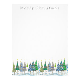 Merry Christmas Holiday Trees Drawing Letterhead