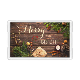Merry Christmas Holidays Serving Tray