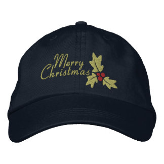 Merry Christmas Holly And Berries Embroidered Hat