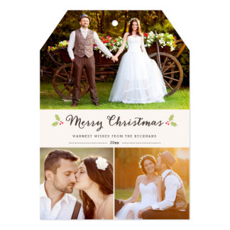 Merry Christmas Holly Christmas Photo Card