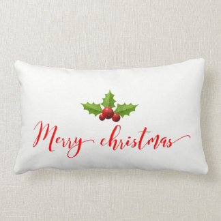 "Merry Christmas Holly Cotton Throw Pillow  13""x21"""
