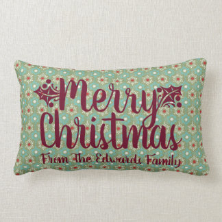 Merry Christmas Holly Custom Typography Pillow