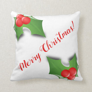 Merry Christmas Holly Holiday Festive Pillow