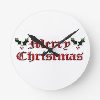 Merry Christmas - Holly Wall Clock