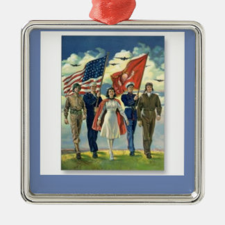Merry Christmas * Honor Our Veterans Metal Ornament