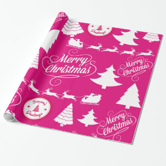 Merry Christmas Hot Pink Holiday Xmas Design Wrapping Paper