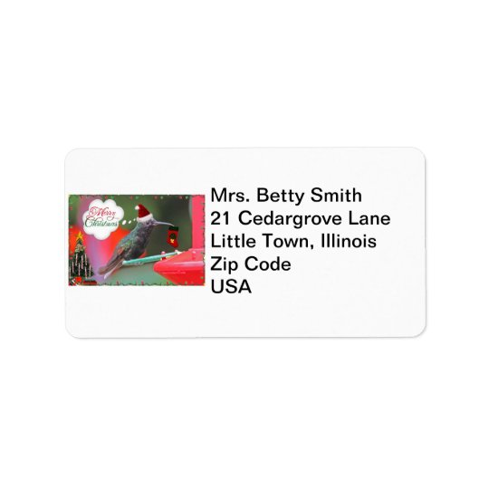 Merry Christmas Hummingbird Label