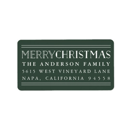 Merry Christmas | Hunter Green Return Address