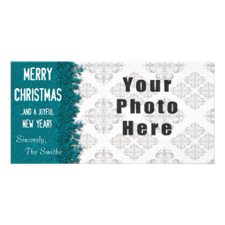 Merry Christmas Ice Blue Snowflake Photo Greeting Card