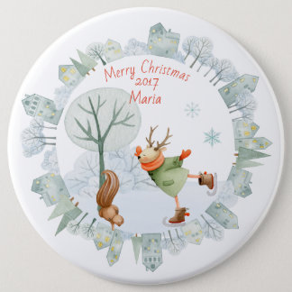 Merry Christmas Ice Skating Deer in Winter on 6 Inch Round Button