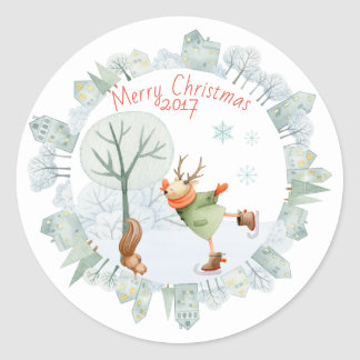 Merry Christmas Ice Skating Deer in Winter on Classic Round Sticker