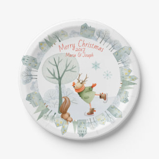 Merry Christmas Ice Skating Deer in Winter on Paper Plate