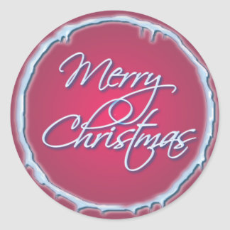 MERRY CHRISTMAS & ICICLES by SHARON SHARPE Round Sticker