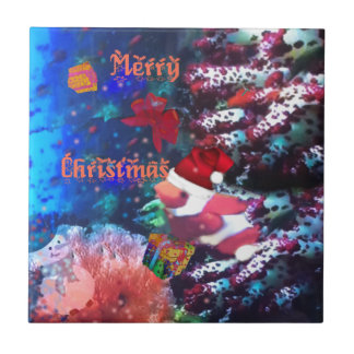 Merry Christmas in aquarium Ceramic Tile