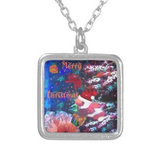 Merry Christmas in aquarium Silver Plated Necklace