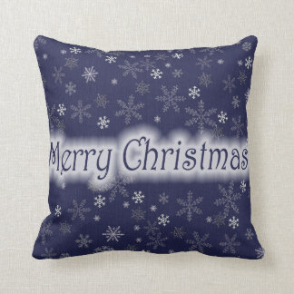 merry christmas in blue throw pillow