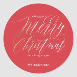 Merry Christmas in Bold Red Classic Round Sticker