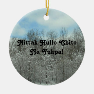 Merry Christmas in Choctaw Ceramic Ornament