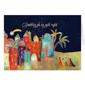 Merry Christmas in Danish, three wise men Card