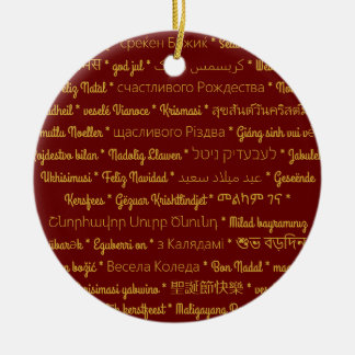 Merry Christmas in Foreign Languages Round Ceramic Ornament