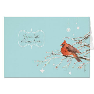 Merry Christmas in French, red cardinal bird Greeting Card