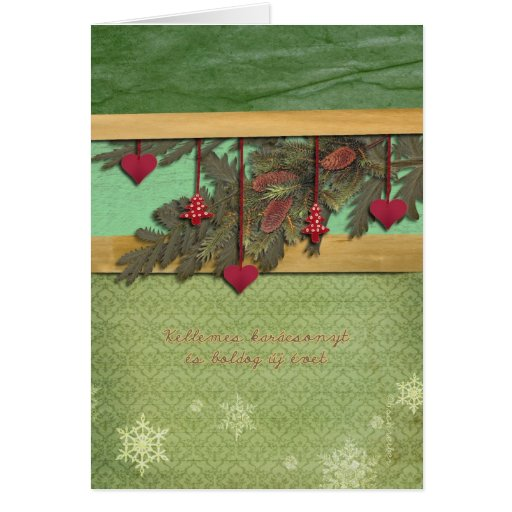 Merry Christmas in Hungarian, red hearts Greeting Card