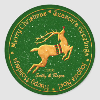 Merry Christmas in Multi Languages Round Sticker