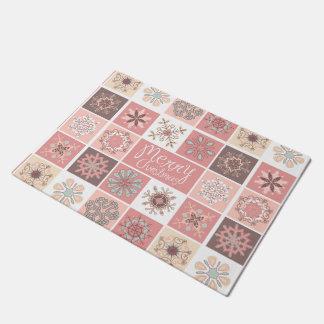 Merry Christmas in Pastel Pinks Doormat