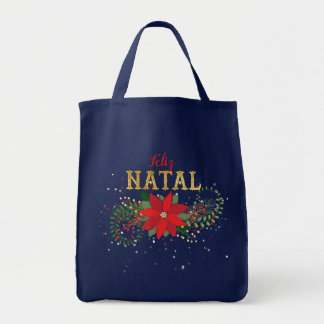 Merry Christmas In Portugese Floral Tote Bag