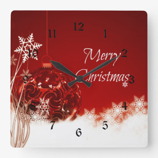 Merry Christmas in Red and White Clocks
