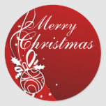 MERRY CHRISTMAS in RED by SHARON SHARPE Round Stickers