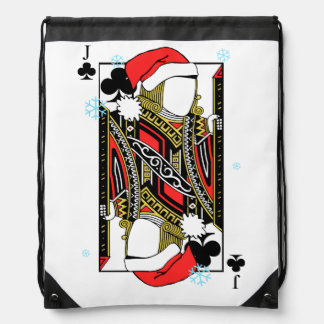 Merry Christmas Jack of Clubs - Add Your Images Drawstring Bag