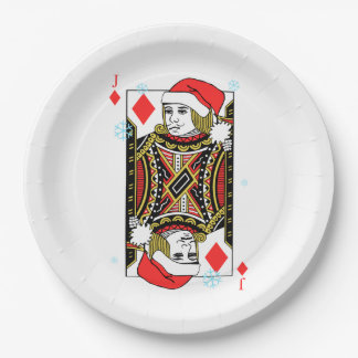 Merry Christmas Jack of Diamonds Paper Plate