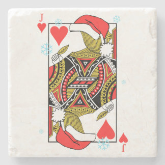 Merry Christmas Jack of Hearts - Add Your Images Stone Coaster