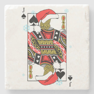 Merry Christmas Jack of Spades - Add Your Images Stone Coaster
