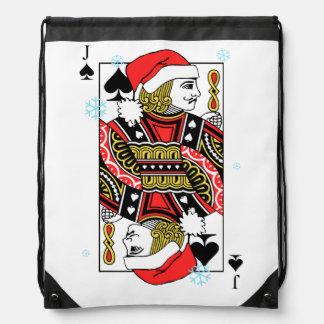 Merry Christmas Jack of Spades Drawstring Bag