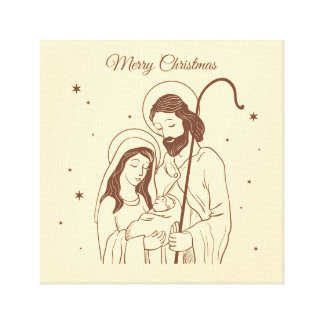 Merry Christmas - Jesus, Mary and Joseph Canvas Print
