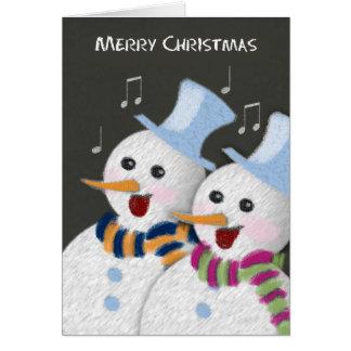 Merry Christmas Jolly Singing Snowmen Couple Card