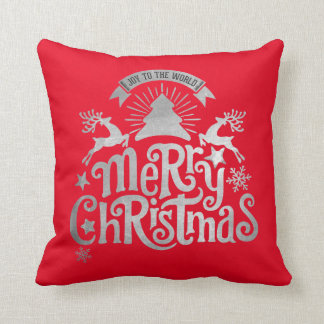 Merry Christmas Joy to the World Holiday Pillow