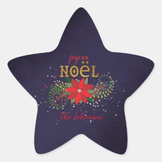 Merry Christmas Joyeux Noel Star Navy French Star Sticker