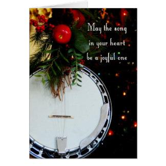 Merry Christmas Joyful Song Holiday Banjo Card
