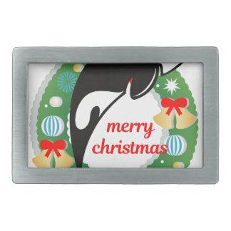 merry christmas killer whale belt buckle
